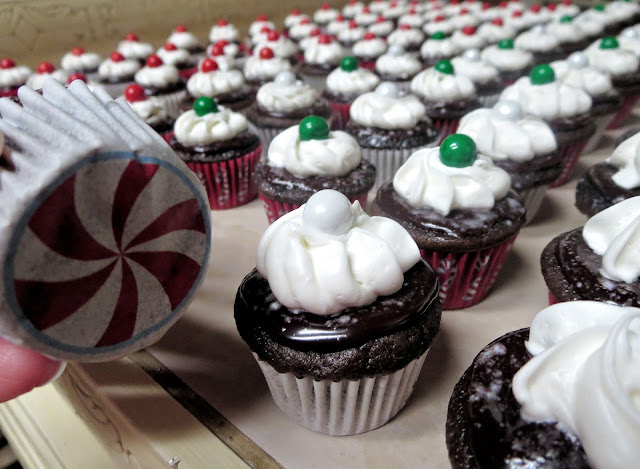 Christmas Chocolate and Peppermint Mini Cupcakes - Showing Peppermint Cupcake Liner