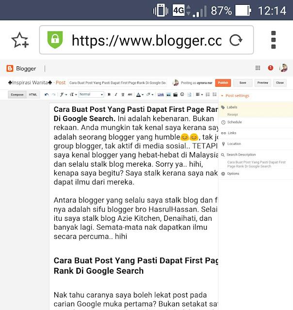 Cara Buat Post Yang Pasti Dapat First Page Rank Di Google Search