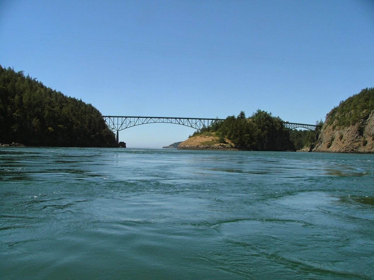 Deception Pass bridge from Cornet Bay