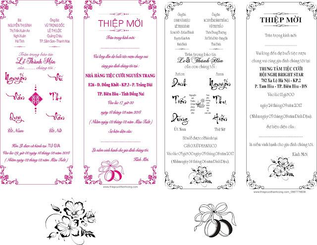Thiệp cưới in lụa - in màu