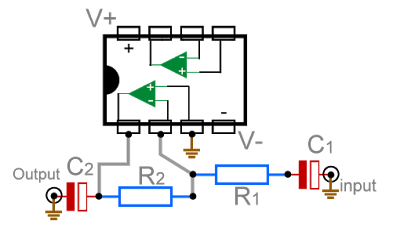 Inverting amplifier circuit diagram
