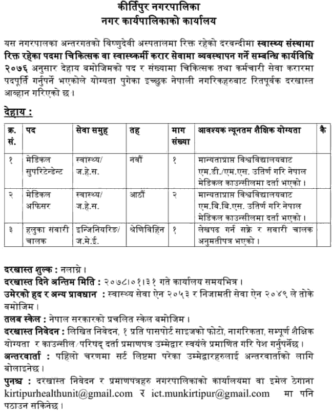 Kirtipur Municipality (Bishnu Devi Hospital) Vacancy Announcement for Medical Officer, Light Vehicle Driver, Medical Superitendent, etc