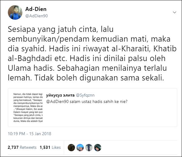 Status Hadis Mati Syahid Kerana Pendam Cinta Yulia Amira