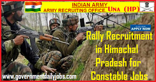 HP Army Rally 2018 Recruitment, Notification, various Constables Posts