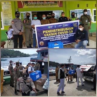 Senergi TNI Polri Polres Lingga lakukan Pengawalan  kedatangan vaksin Covid-19  ke Puskesmas Penuba Kecamatan Selayar