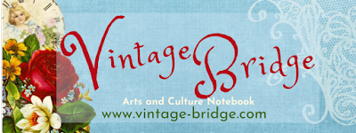 Vintage Bridget Arts and Culture Notebook by Bridget Eileen www.vintage-bridge.com Logo blue background with voctorian rose and angel on left side and white lace on right side with red script that read Vintage Bridge then white and green sans serif font that reads Arts and Culture Notebook www.vintage-bridge.com