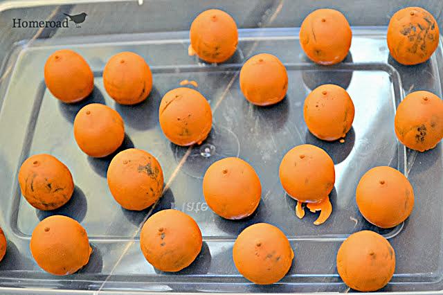 orange painted acorns