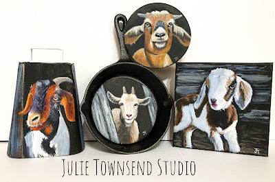 Farmhouse Art, Farm Art, Julie Townsend Studio, Goat Art, Cowbells