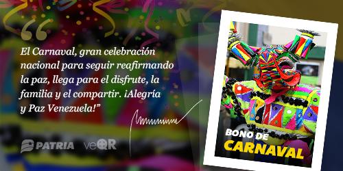 Bono de Carnaval: La entrega de este bono será de manera escalonada
