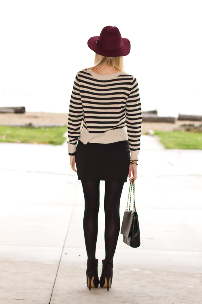 Vancouver Fashion Blogger, Alison Hutchinson, wearing H&M burgundy hat, H&M Striped Knit Sweater, Urban Outfitters black bodycon mini skirt, Zara black booties, Zara black leather bag with chain straps, Tiffany heart necklace, Michael Kors mens watch, True Worth Design bead bracelets, Givenchy cuff bracelet