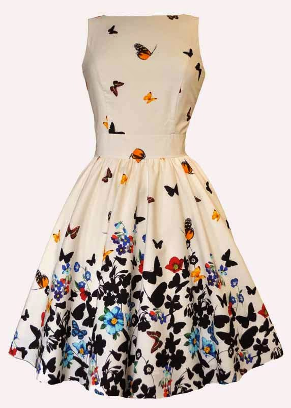 Beautiful White Butterfly Tea Dress