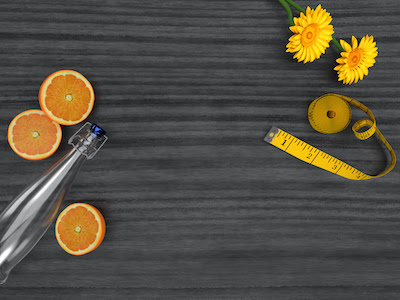 3D Wooden table with water bottle and oranges top view background