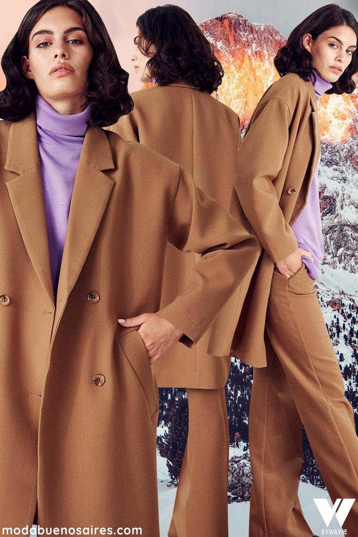 tapado color dulce de leche invierno 2021 moda mujer