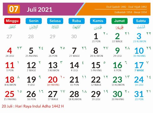 Kalender 2021 Bulan Juli