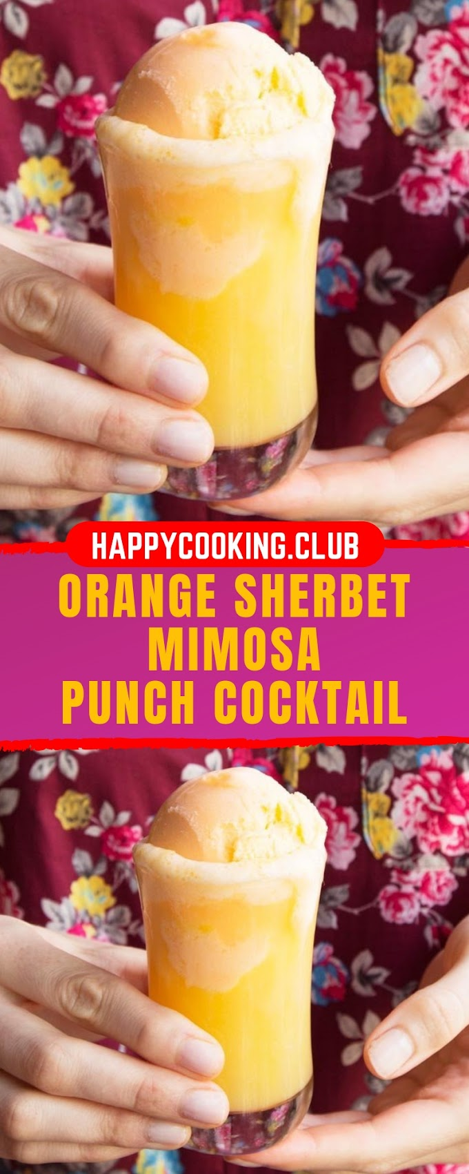 ORANGE SHERBET MIMOSA PUNCH COCKTAIL