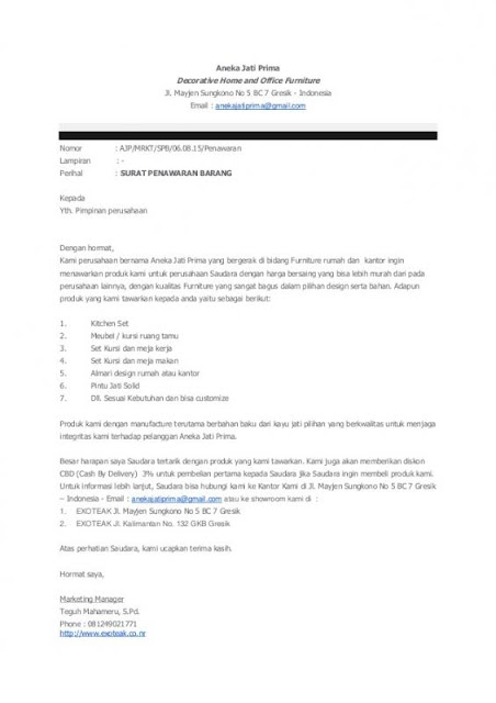 Contoh Surat Penawaran Barang Furniture (via: lezgetreal.com)
