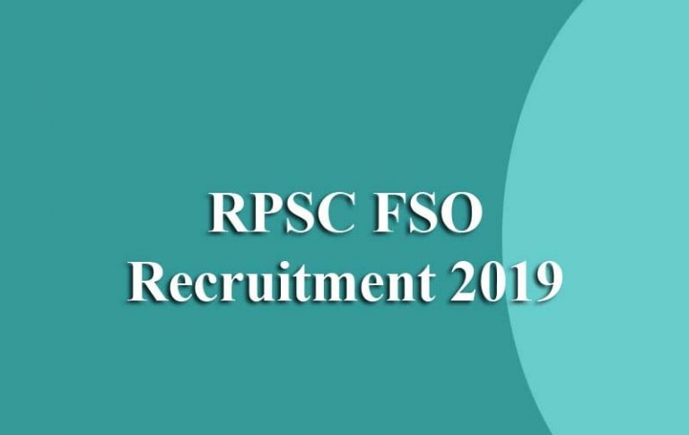 RPSC Food Safety Officer Online Form 2019