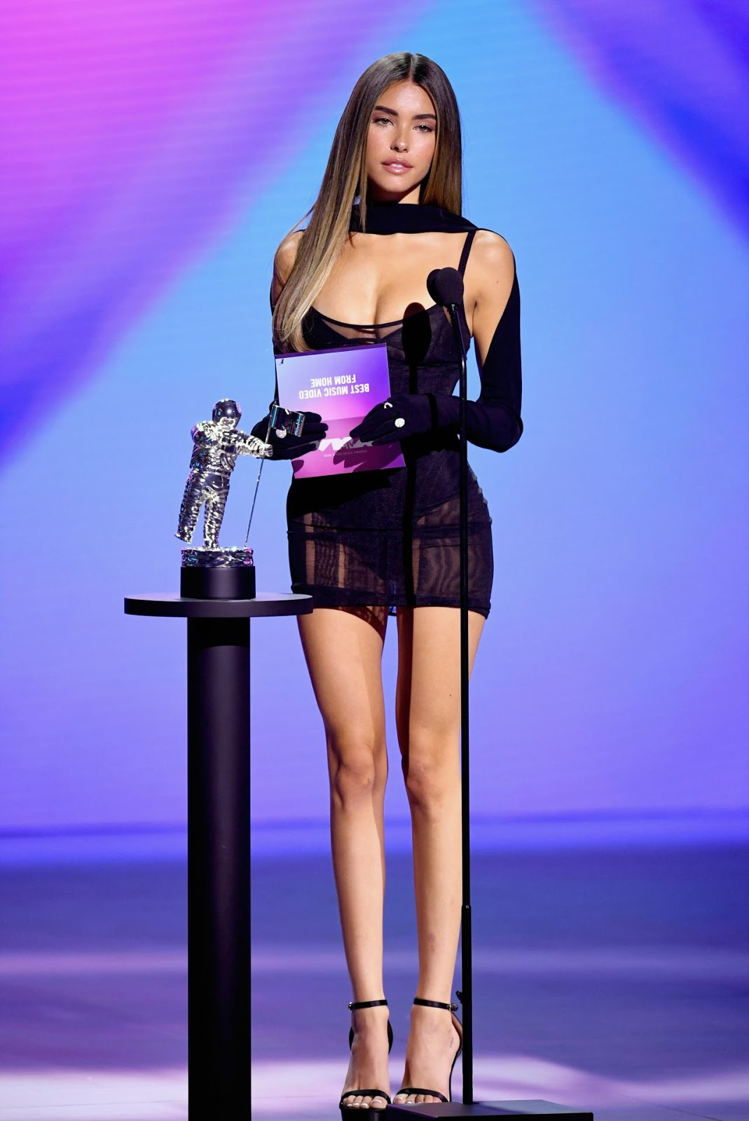 Madison Beer shows off her legs in a little black dress at the 2020 MTV Video Music Awards