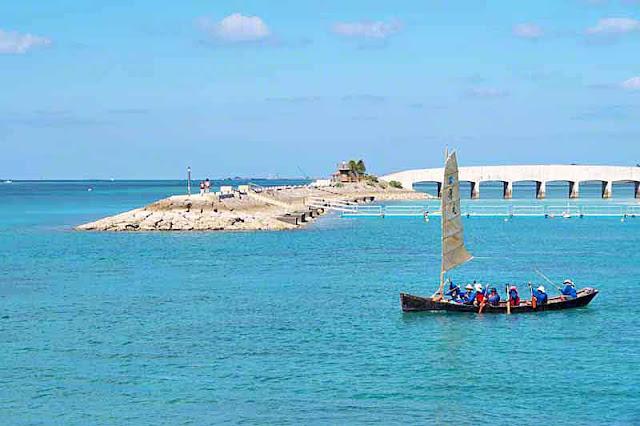 sailing sabani boat, Bibi Beach, Itoman