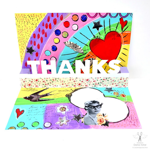 Colorful Pop Up Thank You card with Stamped and Collage Images