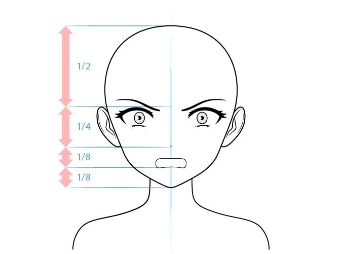 Anime penjahat karakter perempuan menggambar wajah marah