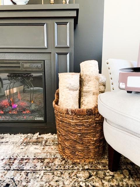 black painted diy fireplace
