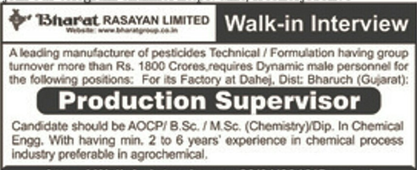 Urgent Requirement for the Post of Operator/Supervisor with Reputed Chemical Company at Dahej Location.