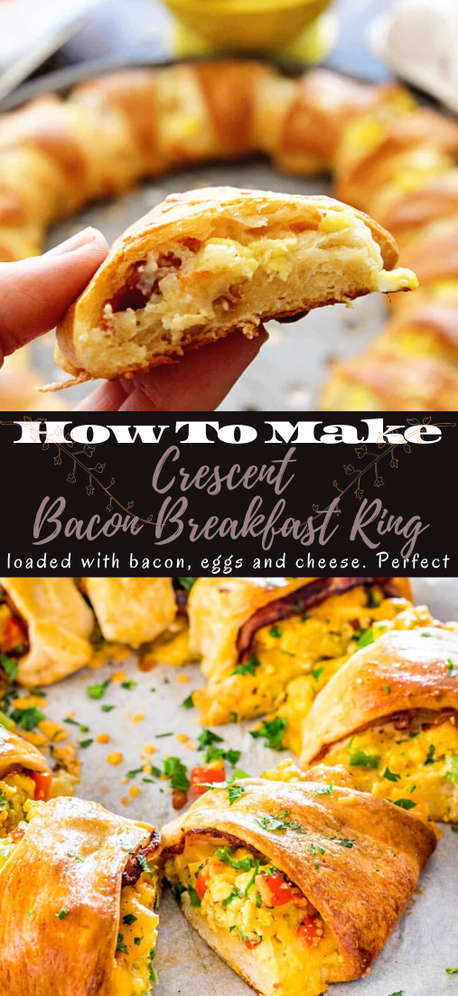Crescent Bacon Breakfast Ring #dinnerrecipe #food #amazingrecipe #easyrecipe