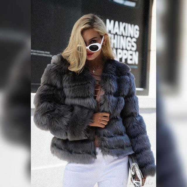 Εντυπωσιακό γκρι γυναικείο παλτό SHARLENA GRAFIT