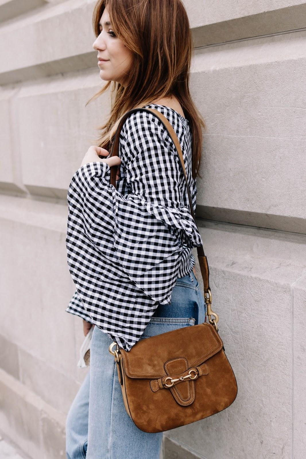 outfits, holiday outfit, gingham, gingham top, ruffled sleeves, outfit, ideas, blog, blogger, style, fashion, vintage, levis, gucci lady web bag