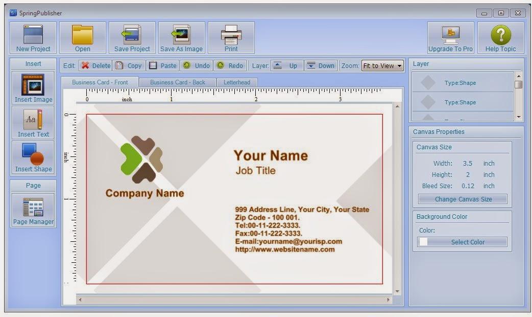 Free software prints custom business cards ~ GizmoEditor com