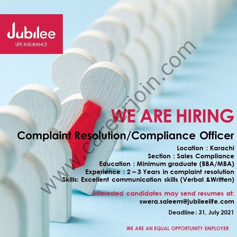 swera.saleem@jubileelife.com - Jubilee Life Insurance Jobs 2021 in Pakistan