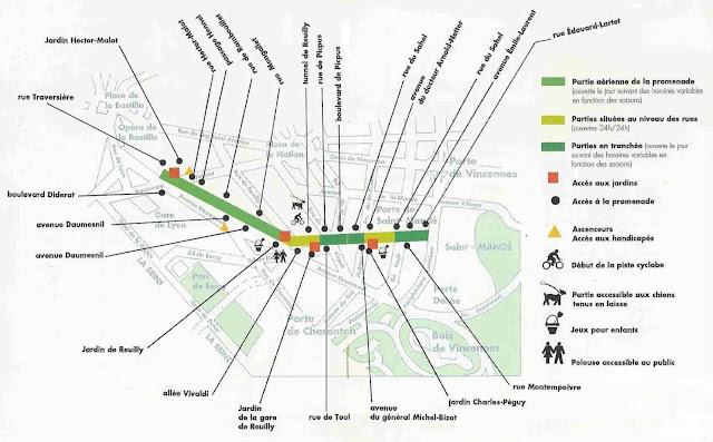 Mapa do Jardim Promenade Plantée em Paris