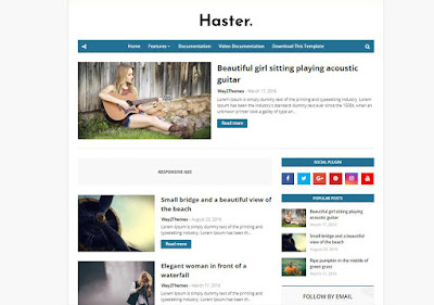 Huster Responsive Free Blogger Templates