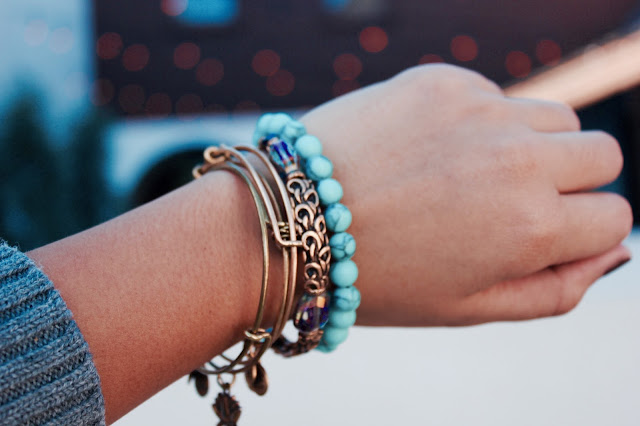 alex and ani bangles, charm bangles, turquoise beaded bracelet, lauren banawa