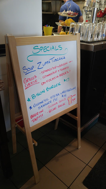 A mini whiteboard highlighting the specials at Juniper Cafe