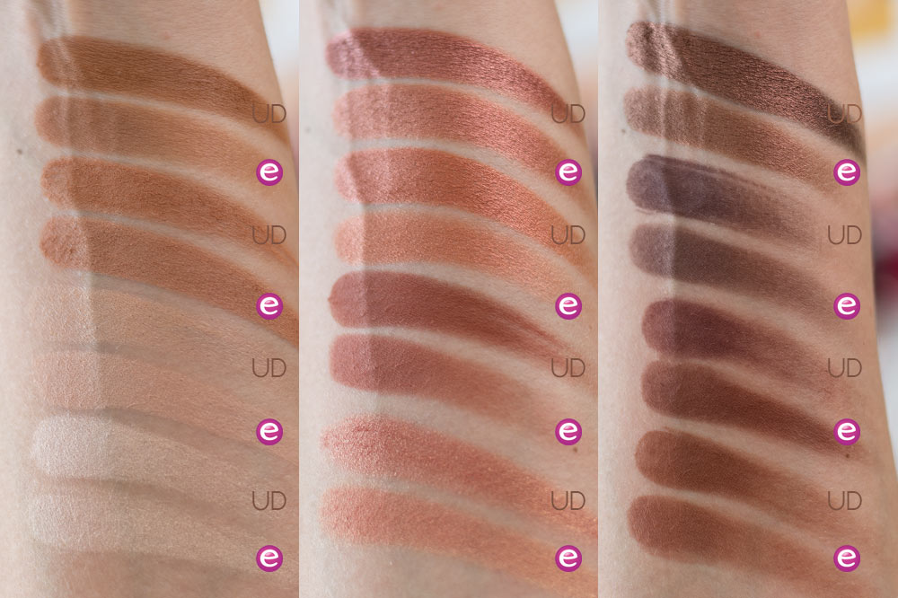 Urban Decay Naked Heat vs essence WANTED sunset dreamers eyeshadow palette Swatches