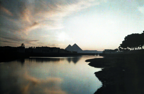 The Pyramids at sunset: Autochromes taken by Gervais Courtellemont and W. Robert Moore for National Geographic