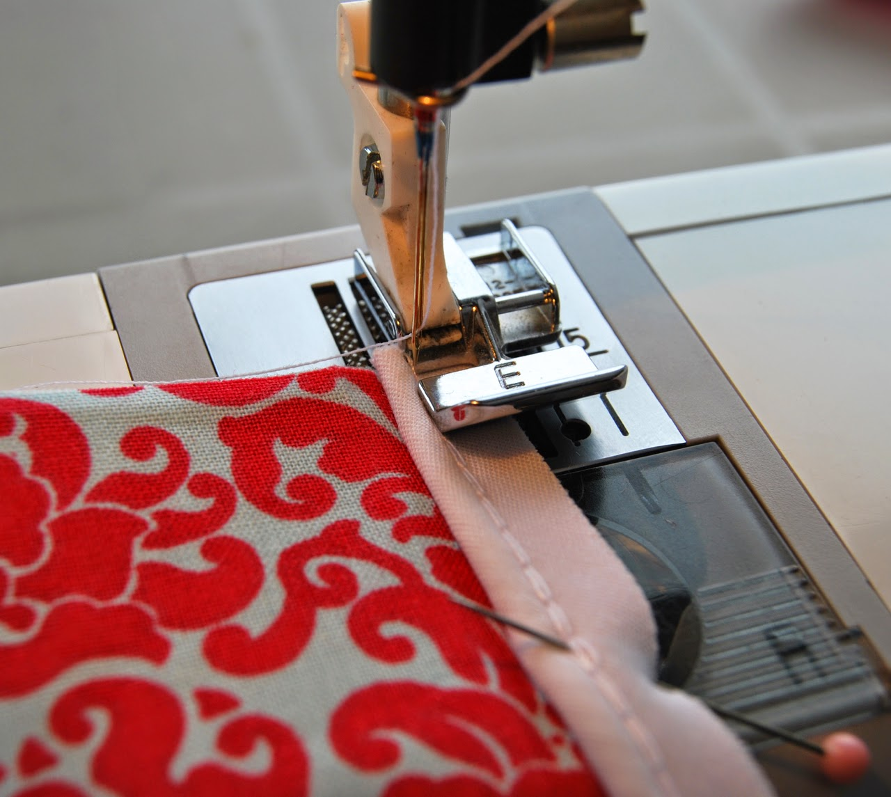sewing on the piping