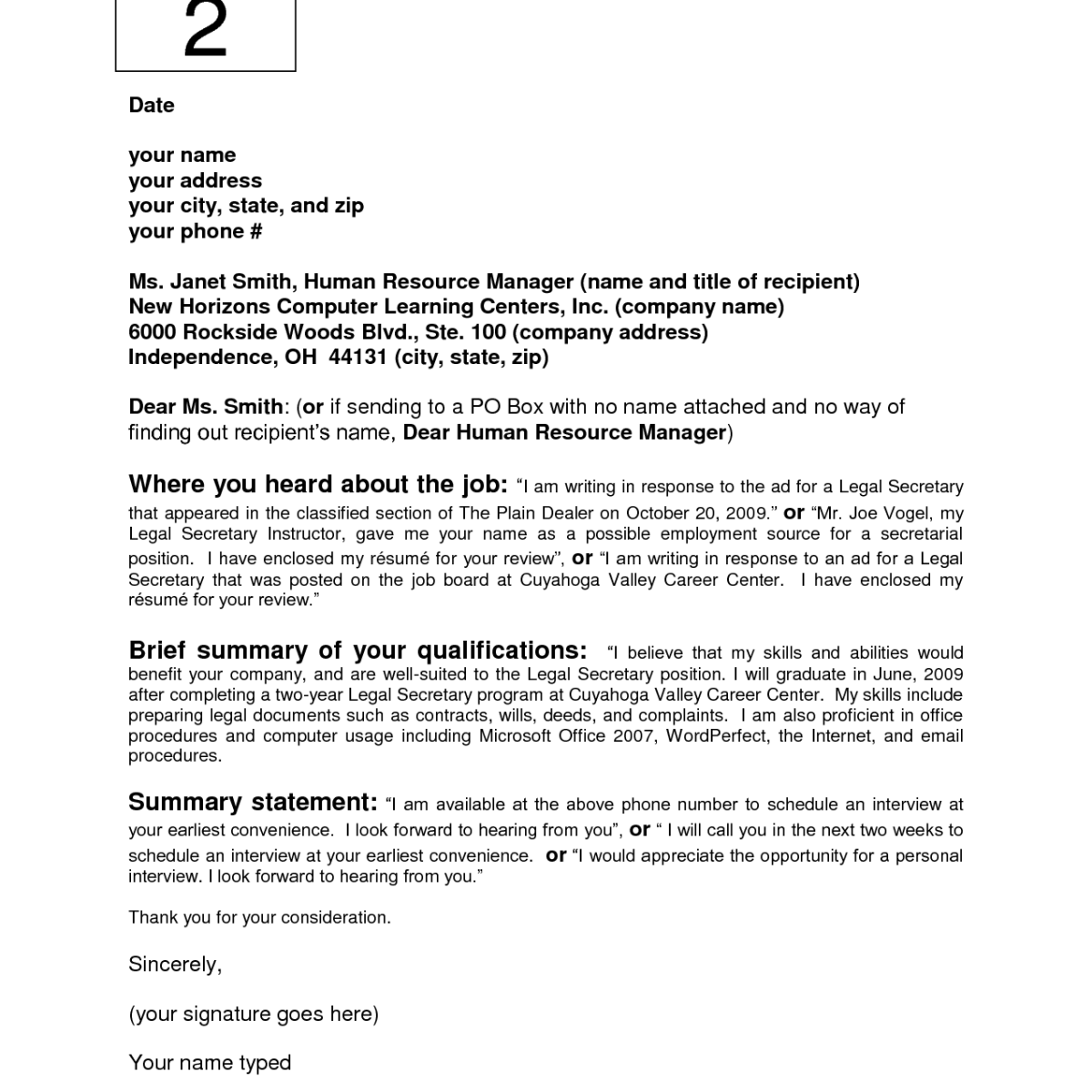 cover letter sample no name