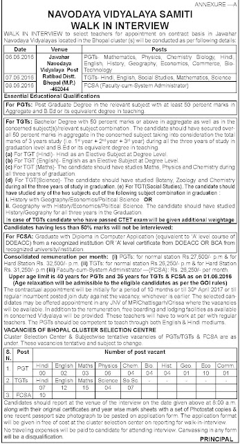 NVS (Navodaya Vidyalaya Samiti) Recruitment Notification 2016