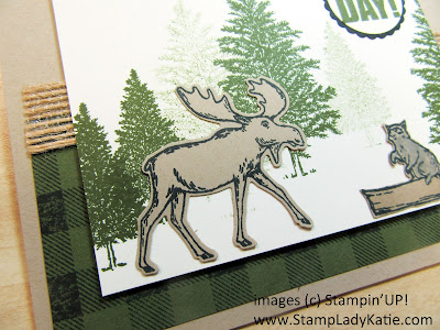 Birthday Card made with the moose and racoon stamps from StampinUP's Merry Moose stamp set in the fall 2019 Holiday Catalog