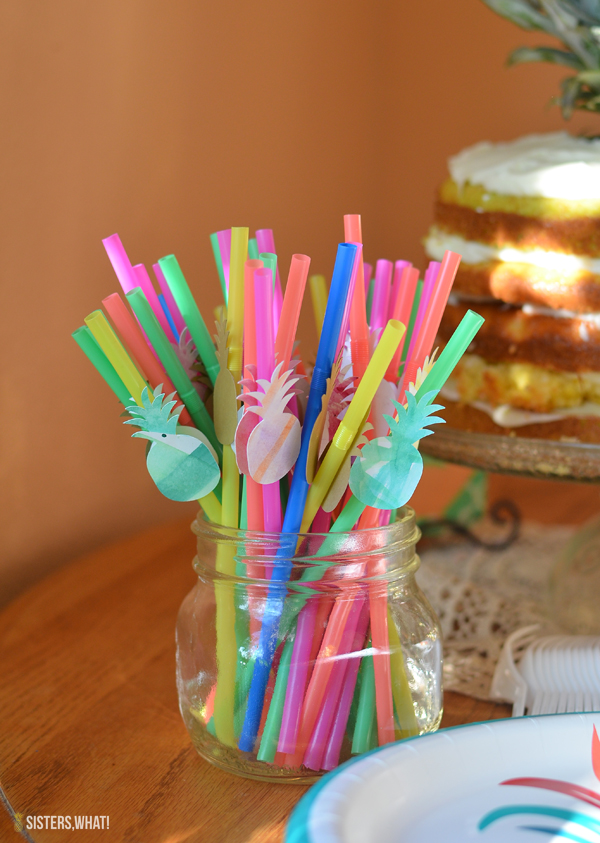 watercolor pineapple straws