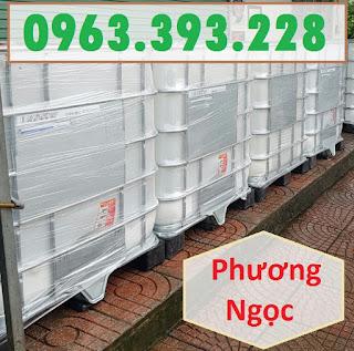Bồn nhựa 1 khối, tank đựng hóa chất, tank nhựa IBC 1000 Lít, thùng nhựa vuông có khung sắt