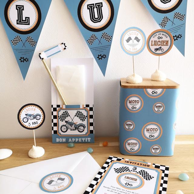 Kit anniversaire personnalisé thème moto garçon à imprimer tête de coucou banderole invitations scrapbooking organisation