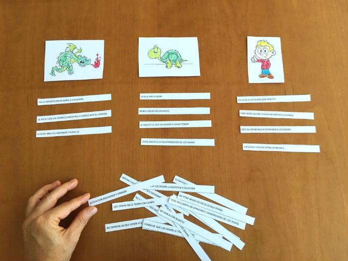 actividad juego trabajar enseñar asertividad niños tres tipos de comunicación