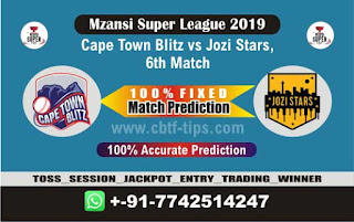 Who will win Today MSL 2019, 6th Match Jozi vs Cape Town 6th, Mzansi 2019 - MSL T20