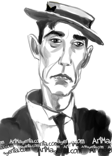 Buster Keaton caricature cartoon. Portrait drawing by caricaturist Artmagenta.