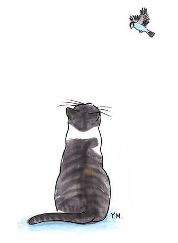 A cat and a bird by Yukié Matsushita