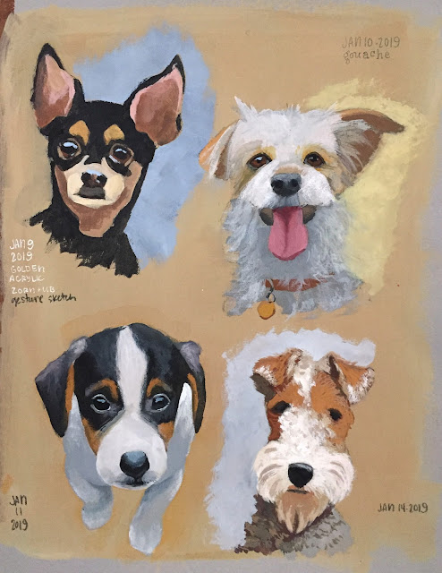 four little sketchbook paintings of cute dogs